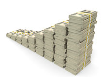 Money stacks graph. One hundred dollars. 3D illustration Stock Photography