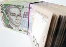 Money stacks. Stack of five hundred hryvnia bills Stock Photography