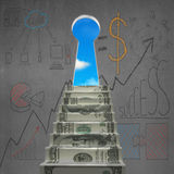 Money stair to key shape door with business doodles Royalty Free Stock Image