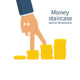 Money staircase concept. Businessman walk fingers over the stock of coins. Infographics, steps to achieve the goal. Vector illustration flat design. Isolated Stock Image