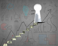 Money stairs with business doodles and key door on wall Stock Image