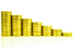 Money stairs Increasing columns of coins, step of stacks coin is. Olated on white background with copy space for business and financial concept idea Royalty Free Stock Photography