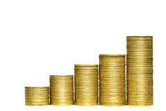 Money stairs isolated over the white background Royalty Free Stock Photo
