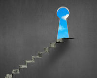 Money stairs with key hole and blue sky Stock Photography