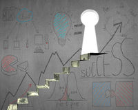 Money stairs to key shape door with business doodles. On concrete wall Stock Photography