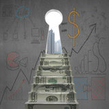 Money stairs to key shape door with business doodles Stock Photos
