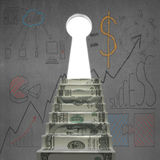 Money stairs to key shape door with business doodles Royalty Free Stock Photo