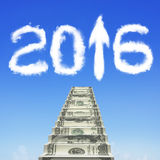 Money stairs with white 2016 arrow up shape clouds Royalty Free Stock Photography