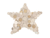 Money star - in Australian coins. Star shape formed with Australian coins and all coins are facing upright -  on white Royalty Free Stock Photography