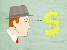 Money stare. Businessman's head stares at symbol of money Royalty Free Stock Images