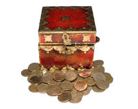 Money stash. Money filled stash with some coins dropped around Royalty Free Stock Images