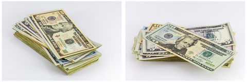 Money stash cash bills collage Royalty Free Stock Images