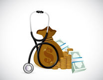 Money and stethoscope. illustration design. Over a white background Royalty Free Stock Image