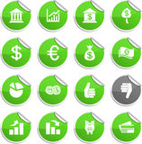 Money stickers. Money set of round glossy stickers Stock Photos