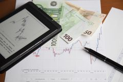 Money, stock exchange, capital, finance, documents Royalty Free Stock Images