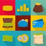 Money stockpile icons set, flat style. Money stockpile icons set. flat set of 9 money stockpile vector icons for web isolated on white background Stock Photography