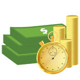 Money and stopwatch Royalty Free Stock Photos