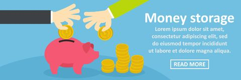 Money storage banner horizontal concept. Flat illustration of money storage banner horizontal vector concept for web Royalty Free Stock Image
