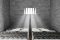 Money Storage interior. With light shining through a barred window Royalty Free Stock Photography