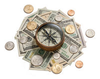 Money Strategy Management Compass Stock Image
