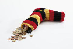 Money in striped socks Stock Photography
