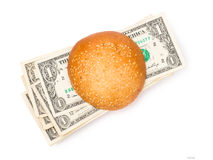 Money-stuffed burger Royalty Free Stock Photos
