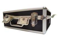 Money stuffed case Stock Photo