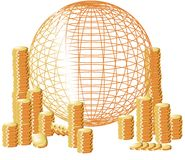Money with stylized globe Royalty Free Stock Photography