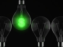Money and success. Green shine of light bulb, money and success vector illustration