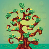 Money success tree illustration with a lot of dollar cash and coins Royalty Free Stock Image