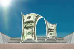 Money success. US Dollars as happy partners.  Royalty Free Stock Photos