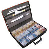Money suitcase Stock Photo