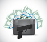 Money suitcase and a gun. illustration Stock Image