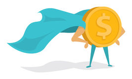 Money super hero or heroic gold coin standing with cape Royalty Free Stock Photo
