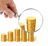 Money Superannuation Hand Magnify Stock Photo