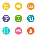 Money supply icons set, flat style. Money supply icons set. Flat set of 9 money supply vector icons for web isolated on white background Stock Photos