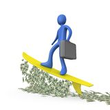 Money Surfing Stock Photo