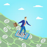 Money surfing. Business concept. Money surfing vector illustrati Royalty Free Stock Images