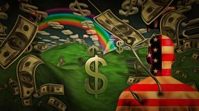 Money. Surreal painting. Man in US national colors on a hook. Clouds in shape of dollar sign, rain of dollars. Human elements were created with 3D software and Royalty Free Stock Photo