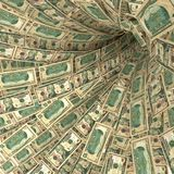 Money swirl of 10 dollar bills. And financial risks Royalty Free Stock Photography