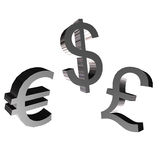 Money symbol. 3D money symbol from euro, dollar and pound Royalty Free Stock Photos