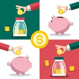 Money Symbol. Business Concept with Hands and Piggy Banks. Vector Flat Design Savings Illustration stock illustration