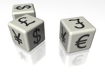 Money symbol cubes. Cubes or dice with a variety of international monetary symbols including yen, euro, dollar, lira Stock Images