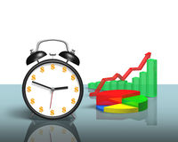 Money symbol face clock with chart on table Stock Photo