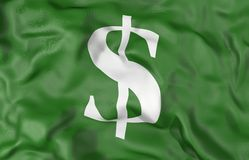 Money Symbol  green flag 3D illustration Stock Image