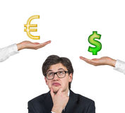 Money symbol in hand Stock Images