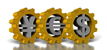 Money symbol. Three gold gears with a silver money symbol Stock Images