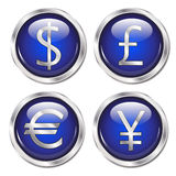Money symbol web buttons blue. Glossy web buttons with money symbols for pound, dollar, euro and yen Stock Image