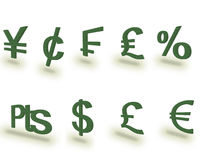 Money Symbols. Most popular currency based symbols Royalty Free Stock Images