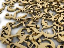 Money symbols. Dollar, euro, pound, and yan symbols scattered randomly Stock Image